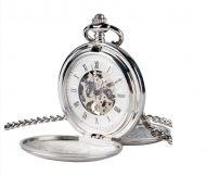 mechanische Taschenuhr 2-fach Silber